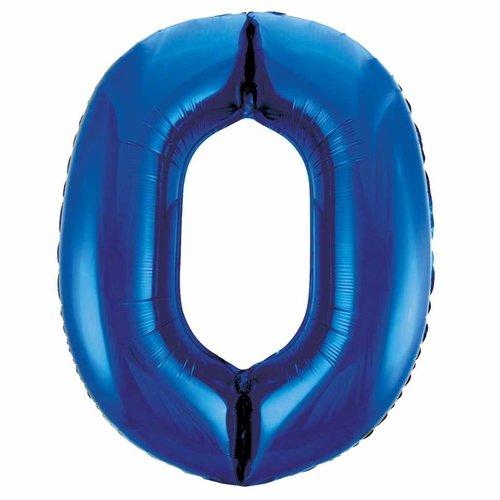 Folieballon 0 Blauw - 92cm