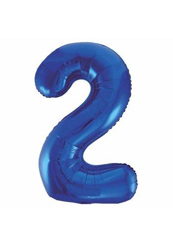 Folieballon 2 Blauw - 92cm