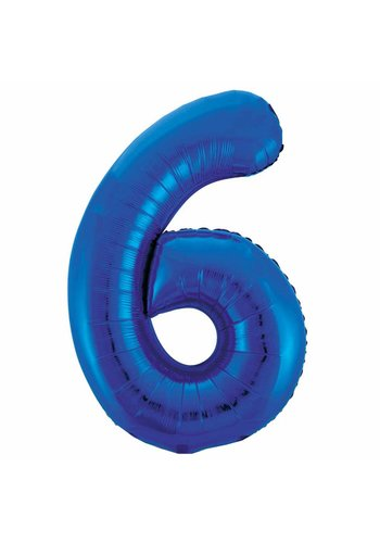 Folieballon 6 Blauw - 92cm