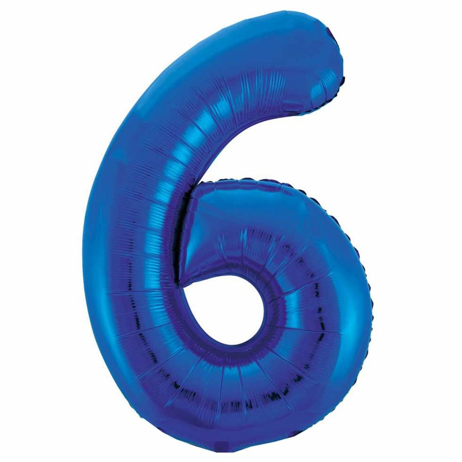 Folieballon 6 Blauw - 92cm-1