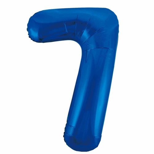 Folieballon 7 Blauw - 92cm