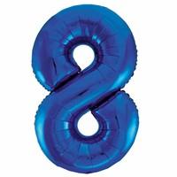 Folieballon 8 Blauw - 92cm