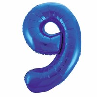 Folieballon 9 Blauw - 92cm