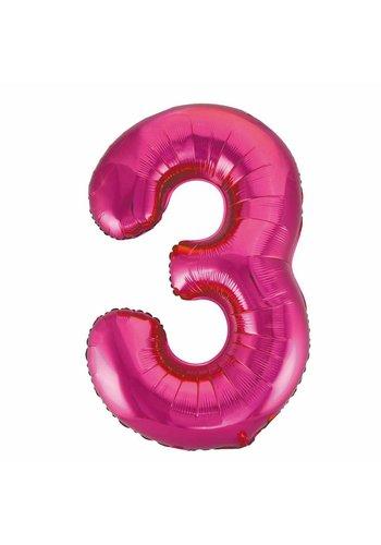 Folieballon 3 Pink - 92cm