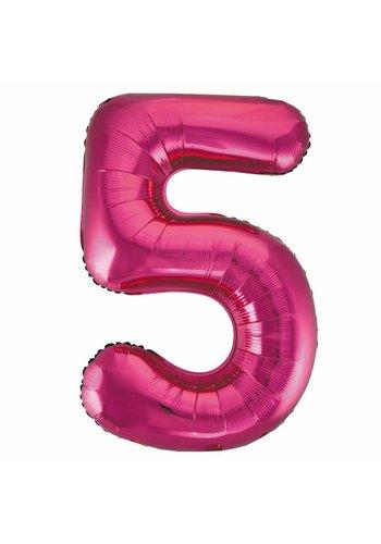 Folieballon 5 Pink - 92cm