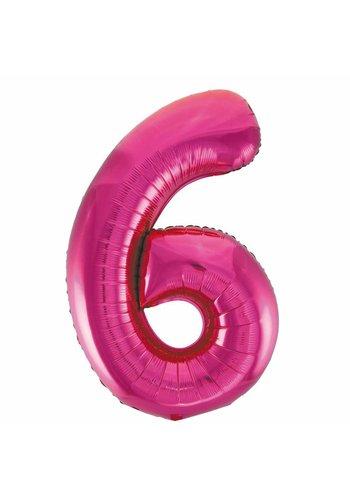 Folieballon 6 Pink - 92cm