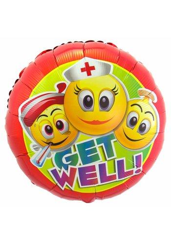 Smiley Get Well Folieballon - 45cm