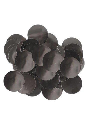 Confetti metaalfolie - Zwart - 14 gr - Ø25 mm