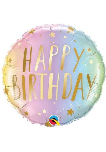 Folieballon Birthday Pastel Ombre & Stars - 45cm