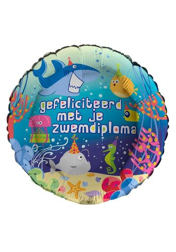 Folieballon Gefeliciteerd Zwemdiploma - 45cm