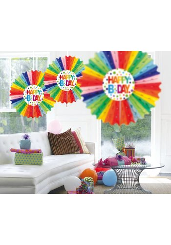 Honeycomb Fan met Deco Rainbow Dots - 45cm