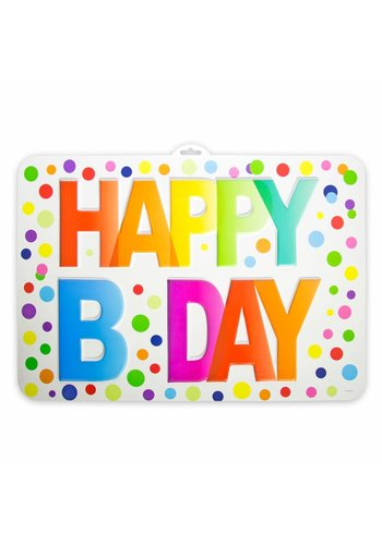 3D Deurbord Rainbow Dots Happy Birthday - PVC