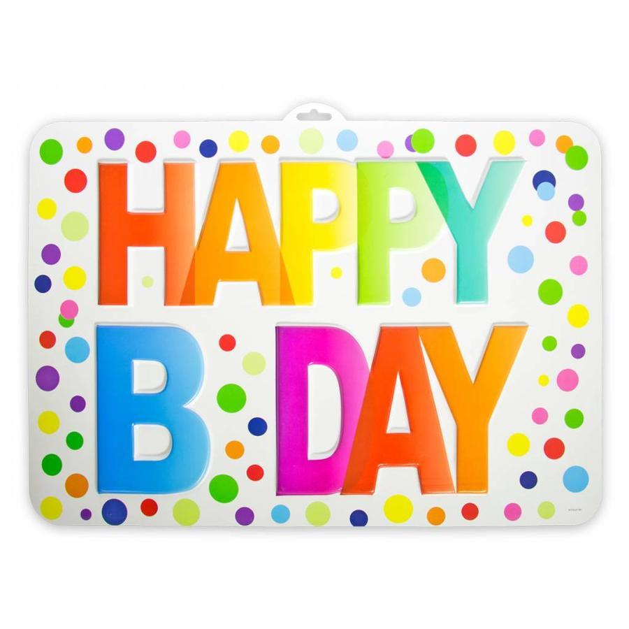3D Deurbord Rainbow Dots Happy Birthday - PVC-1