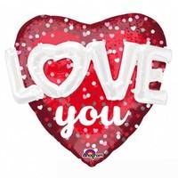 Folieballon 3D Love Hearts & Dots - 91x91cm