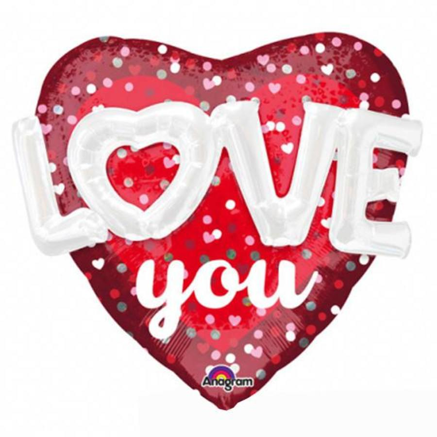 Folieballon 3D Love Hearts & Dots - 91x91cm-1