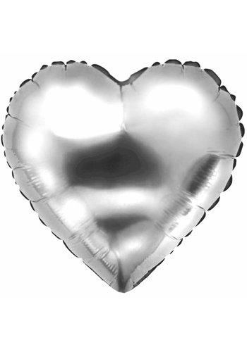 Folieballon Hart Zilver - 45cm