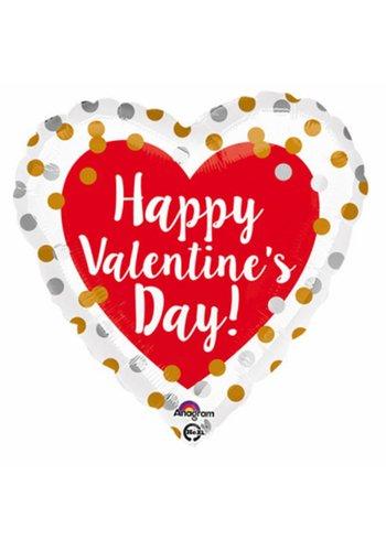 Folieballon Gold & Silver Happy Valentine's Day - 45cm