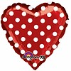 Anagram Folieballon Red and Polka Dots - 45cm