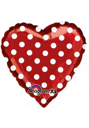 Folieballon Red and Polka Dots - 45cm
