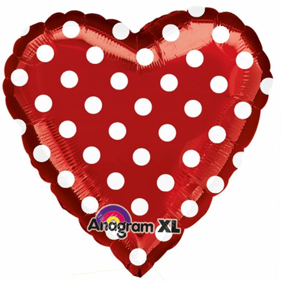 Folieballon Red and Polka Dots - 45cm-1