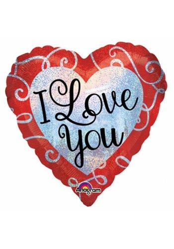 Folieballon Sparkle Heart Love You - 45cm