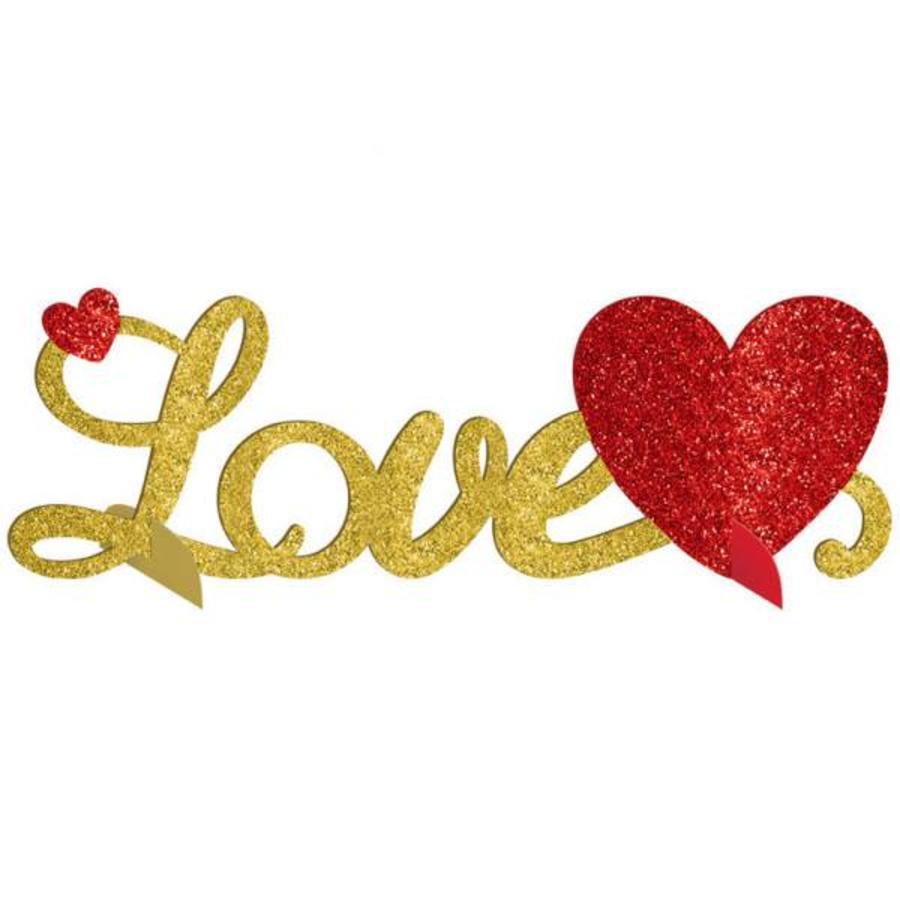 3D Tafel Centerpiece - Love Glitter - 35x11cm-1