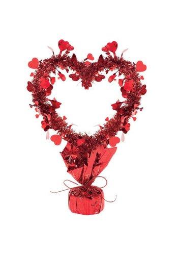 Red Tinsel Centerpiece Heart - 35cm