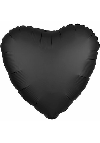 Folieballon Hart Satijn Zwart - 45cm