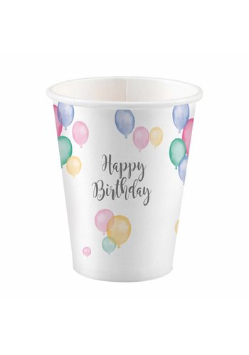 Bekertjes Happy Birthday Pastel - 8st - 250ml