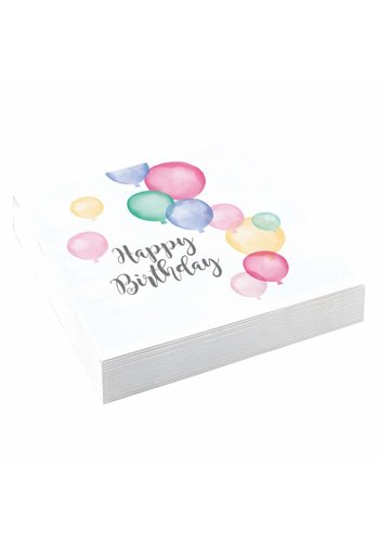 Servetten Happy Birthday Pastel - 20st - 33x33cm