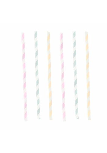 Paper Straws Happy Birthday Pastel - 12st