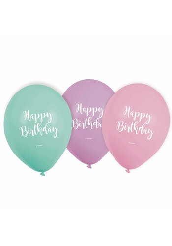 Ballonnen Happy Birthday Pastel - 6 st - 22,8cm