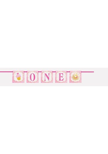 1st Birthday pink & Gold Banner One