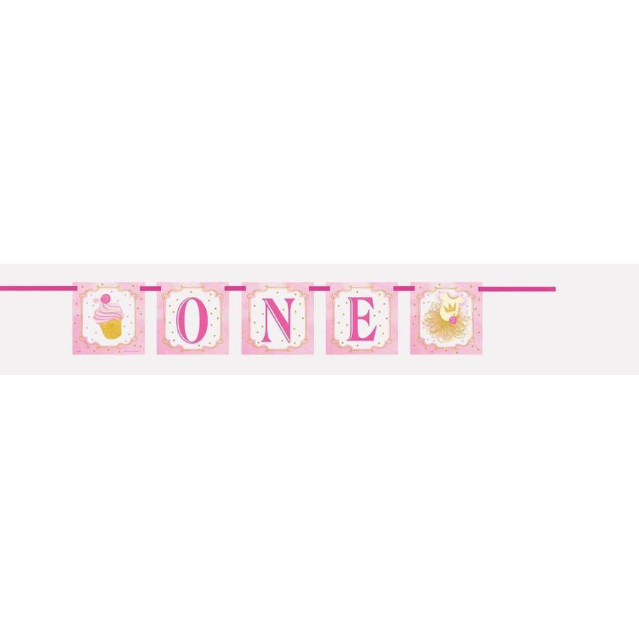 1st Birthday pink & Gold Banner One-1