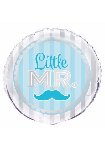 "Folieballon Blue Mustache ""little mr."" - 45cm"