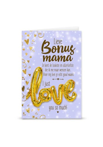 Wenskaart Love Balloon - Bonus Mama