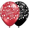 """Qualatex 11"""" Happy Valentine's Day Met Hartjes (28cm)"""