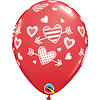"Qualatex 11"" Ruby Red Patterned Hearts & Arrows  (28cm)"