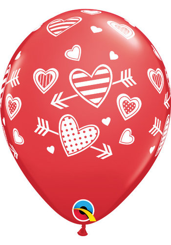 """11"""" Ruby Red Patterned Hearts & Arrows  (28cm)"""