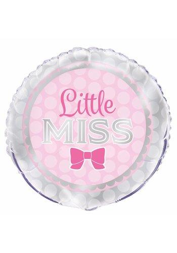 "Folieballon Pink Bow ""little miss."" - 45cm"