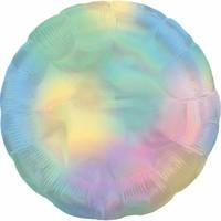 Folieballon holografische pastel regenboog cirkel - 45cm