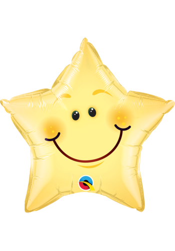 Folieballon Smiley Face Star - 51cm