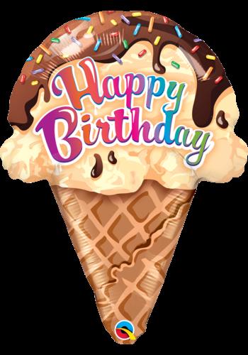 Folieballon Happy Birthday Icecream - 46x62cm