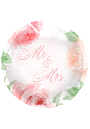 Mr & Mrs Wedding Roses Folieballon - 45cm