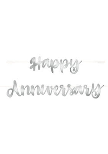 Letter banner Happy Anniversary - Zilver - 1.82mtr
