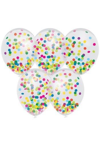 Confetti ballonnen Multi Color - 30cm - 5 stuks