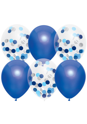 Confetti ballonnen Mix Royal Blue - 30cm - 6 stuks