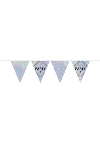 "Vlaggenlijn ""Let's Party"" holographic silver - 10m"