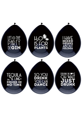 Ballonnen Drink Quotes - 6 stuks - 30cm