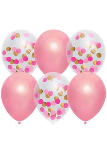 Confetti ballonnen Mix Princess Pink - 30cm - 6 stuks